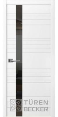 Межкомнатная дверь Соммер ПО (стекло - черный лакобель) белая эмаль - Turen Becker (Тюрен Беккер)