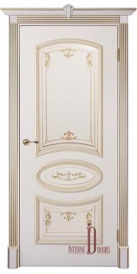 Межкомнатная дверь БАГЕТ 3 ПГ - Слоновая Кость Патина Золото