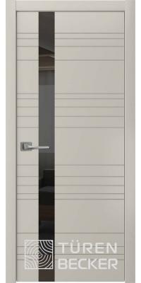 Межкомнатная дверь Соммер ПО (стекло - черный лакобель) серый камень - Turen Becker (Тюрен Беккер)